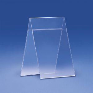Porta messaggi bifacciali da banco in plexiglass