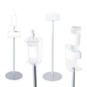 Piantane con supporto in plexiglass per flaconi, dispenser gel e guanti monouso