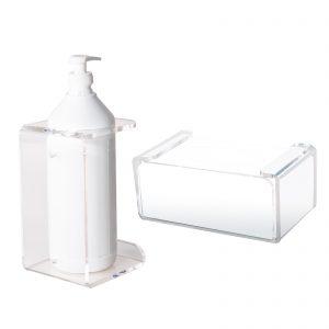 Supporti da muro in plexiglass per flaconi con dosatore e per guanti monouso